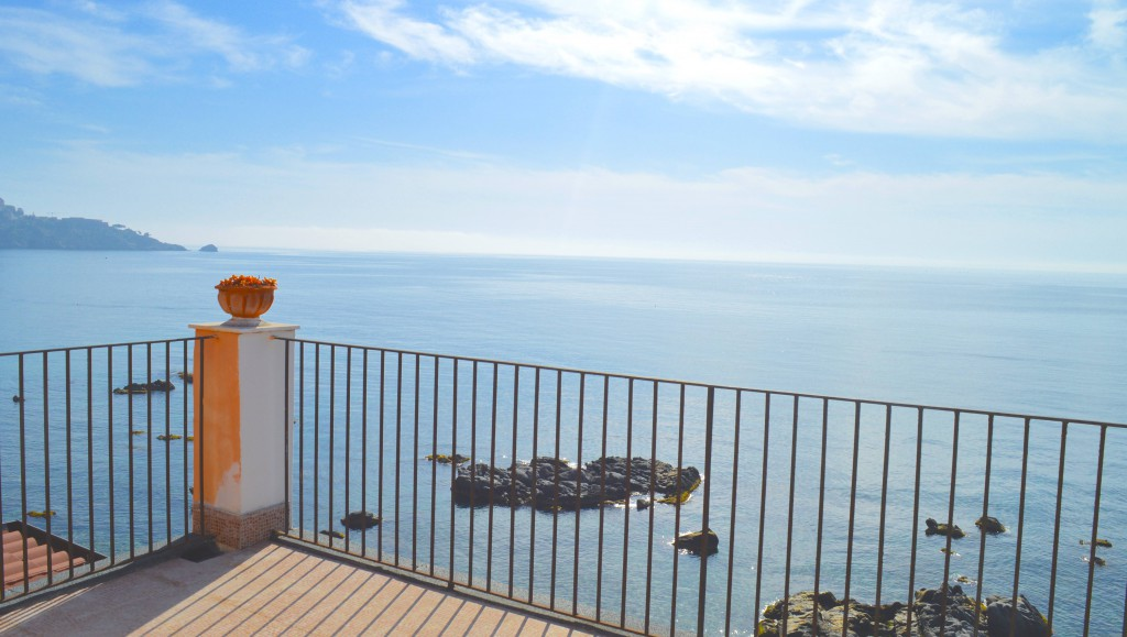 terrace seaview beach balcony sicily taormina